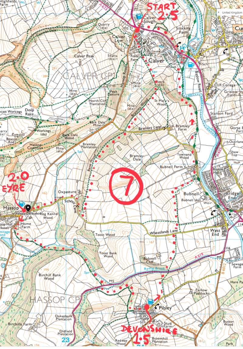 49. Calver, Hassop, Pilsley and Bubnell peak district walk