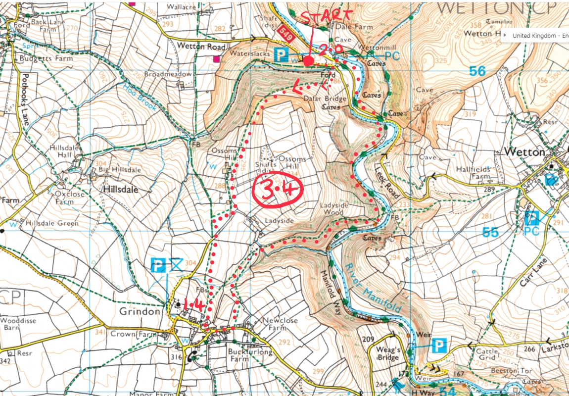 wetton mill thors cave walk map